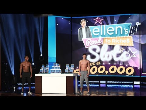 Ellen sends crowd into a tizzy with two very waxed hunks