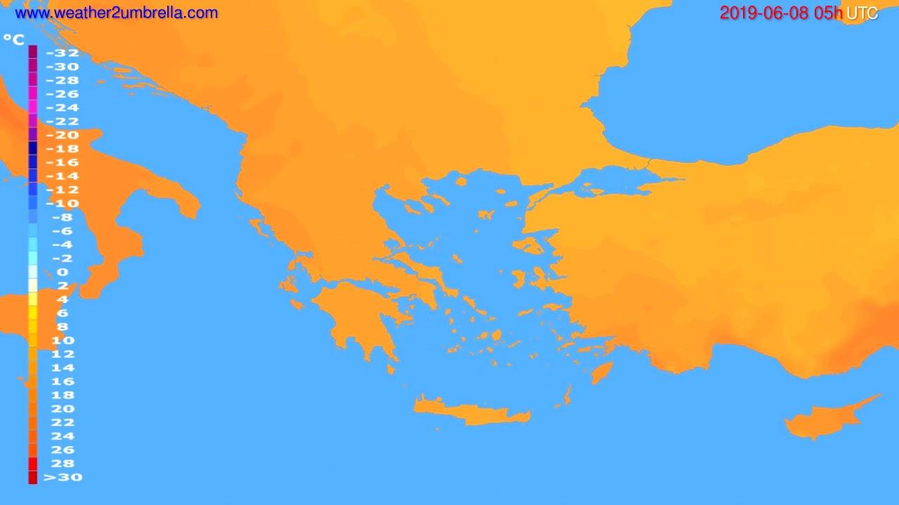 Temperature forecast Greece // modelrun: 00h UTC 2019-06-06