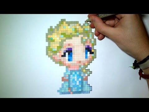 уроки живописи How To Draw Elsa Frozen Easy Pixel Art
