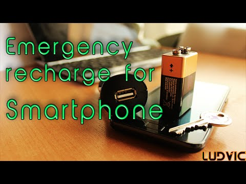 Emergency Charge A Smartphone With A Battery, A Key And A Car Charger