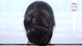 Extra Huge Braided Bun Making By Male Hair Dresser To Jr.Ganga By Her Thick Knee Length Braid