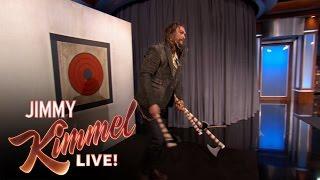 Jason Momoa Throws Axes with Jimmy Kimmel & Guillermo | Kholo.pk