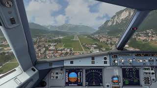 Cockpit A320 landing at Innsbruck ++ Aerofly FS 2