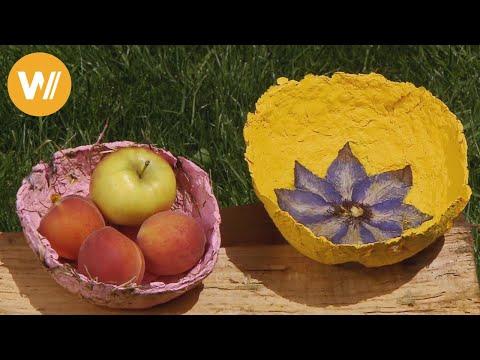 Papier selber machen  - aus Papierbrei entsteht eine Obstschale