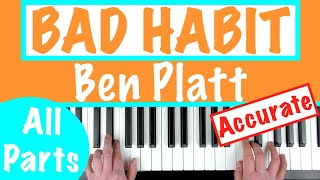 How To Play 'BAD HABIT'   Ben Platt | Piano Chords Tutorial