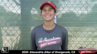2020 Alexandria Allen Catcher and Second Base Softball Skills Video - AASA - Allen