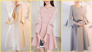 Elegant Stunning Umbrella Sleeve Below Knee Length Frocks Midi Dresses Ideas For Women