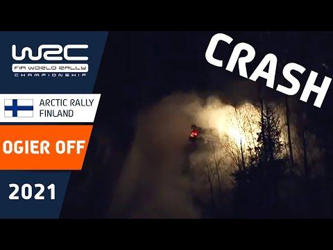 オジェが最後のステージで雪壁に当たりスタック。デイリタイア 衝突の瞬間を捉えた映像 WRC 2021 第2戦のラリーフィンランド