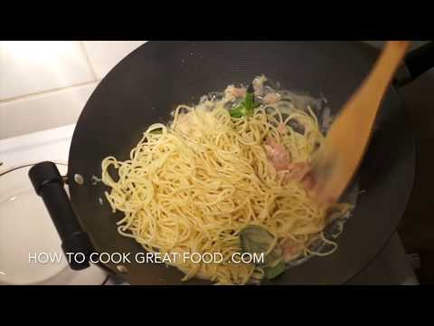 Video Cream Ham Pasta Sauce Recipe - Creamy Spaghetti Italian
