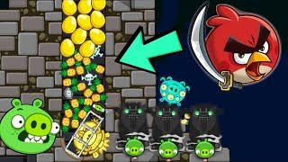 Bad Piggies - PIG THIEF HIDING 30 PINEAPPLE AND 30 ANGRY BIRDS'S GOLDEN EGG!!