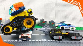 Lego ATM Robbery Stop Motion Experimental Trucks and Cars for Kids , Bulldozer and Police Truck