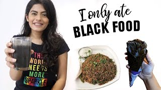 I only ate BLACK food for 24 Hours Challenge! | Dhwani Bhatt