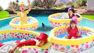 24 Hours Overnight in the Pool! (Puppet Master's Mansion)