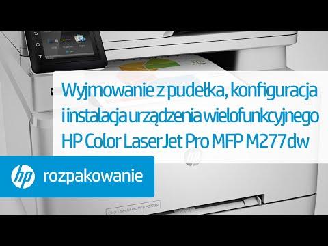 Wyjmowanie z pudełka, konfiguracja i instalacja urządzenia wielofunkcyjnego HP Color LaserJet Pro MFP M277dw
