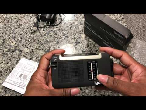 iGadgitz Xtra Wind Up, Solar, & USB Rechargeable Portable AM/FM Radio Outdoor Camping