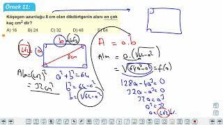 Eğitim Vadisi AYT Matematik 20.Föy Maksimum Minimum Problemleri 2 Konu Anlatım Videoları
