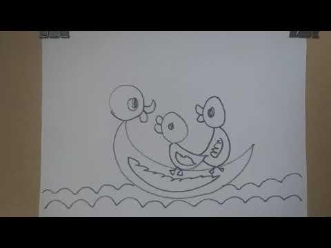 Vẽ vịt mẹ và vịt con