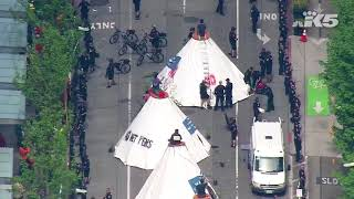 Protesters calling out Chase Bank block downtown Seattle streets