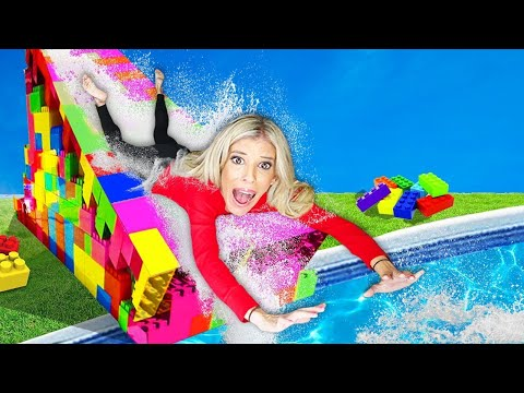 I Turned My Backyard into a Giant Lego Water slide for 24 hours | Rebecca Zamolo