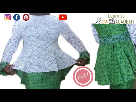 How to Make a Blouse with NO PATTERN | Ankara Lace Top | 6 piece cutting style