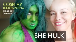 SHE HULK bodypainting by Lana Chromium, cosplay wearing bodypaint at Comic-Con International 2017