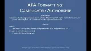 APA References List: Complex Authors