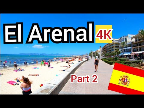 ⁴ᴷ EL ARENAL Walking Along The Beach Promenade, Mallorca 🇪🇸 Spain (Majorca)