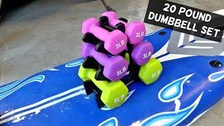 AmazonBasics 20 Pound Neoprene Dumbbell Set with Stand