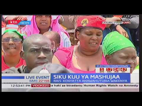President Uhuru Kenyatta makes speech at Uhuru park during Mashujaa day celebrations