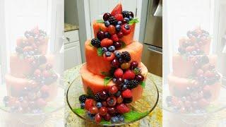 How to make Watermelon Cake   Easy DIY Fruits Centerpiece