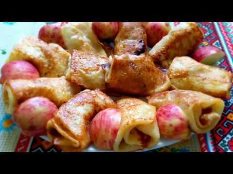 Блинчики на молоке с  яблоками