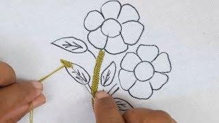 Hand Embroidery#easy Flower Design#modern Flower Embroidery#free Embroidery Designs