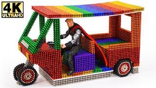 DIY How To Make Electric Rickshaw (Tuk Tuk) with Magnetic Balls Satisfaction 100%   Magnetic Man 4K