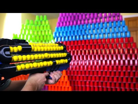 World's Craziest Nerf Gun VS 1000 Cups