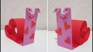 Улитка из бумаги на День Святого Валентина.
