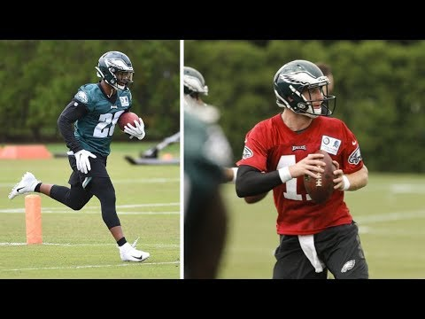 Philadelphia Eagles Rookie Miles Sanders Gets On The Field With Carson Wentz At Minicamp