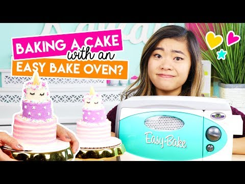 Baking a Mini Unicorn Cake in an EASY BAKE OVEN!! ?
