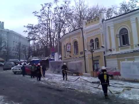 Пожар в здании на Андреевском спуске