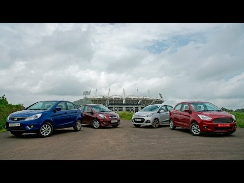 Honda Amaze vs Tata Zest vs Hyundai Xcent vs Ford Figo Aspire diesel comparison by OVERDRIVE