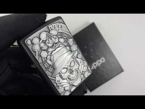 49183 Зажигалка Zippo Gambling Skull, Black Matte