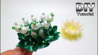 DIY - Hair Clip Pearl Crown For Little Girl Tutorial | Satin Ribbon Flower | Jepit Rambut | Handmade