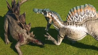 Jurassic World Evolution - STEGOSAURUS (MAX DEFENSE ) vs SPINOSAURUS (MAX ATTACK ) - Gameplay HD