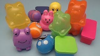 Surprise Egg Opening Memory Game for Kids!  Nesting Gummy Bear Shapes Funny Faces!