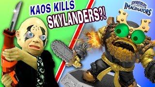 CRAZY KAOS DESTROYS SKYLANDERS! Sawing Toys in Half! Wave 4 Pikachu? Grave Clobber & Easter Toys