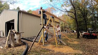 Adding a Lean-To on a Pole Barn - Setting Posts & Header Board