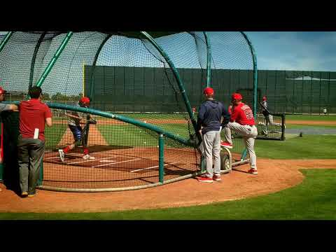 C.J. Chatham, Boston Red Sox top shortstop prospect, takes BP at spring training 2019