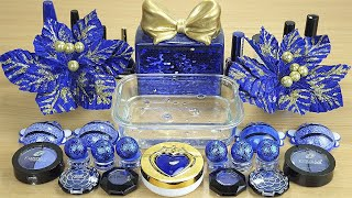 Navy BLUE SLIME 💙 Mixing makeup and glitter into Clear Slime 💯% Satisfying Slime Videos 1080p.