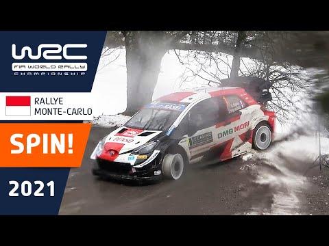 WRC 2021 トヨタのオジェがスピン。フロントタイヤがなくなってホイールのみで走行する動画