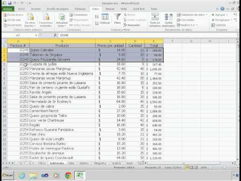 Microsoft Excel subtotales