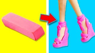 14 DIY MINIATURE HACKS AND CRAFTS FOR BARBIE DOLL! HIGH HEELS, SHOES AND MORE!